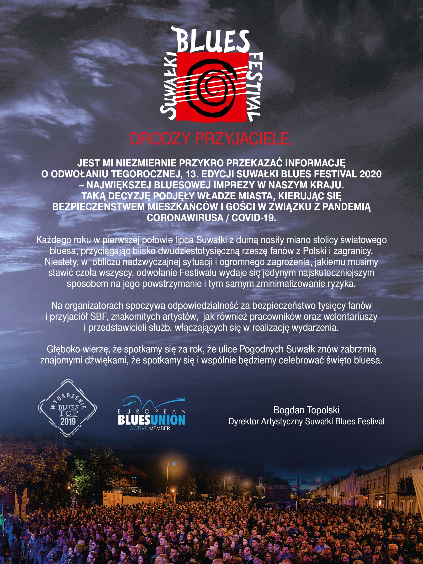 13. edycja Suwałki Blues Festival 2020 odwołana